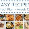 Easy Dinner Recipes Meal Plan - Week 13