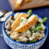 Crispy Chicken and Asparagus Goat Cheese Rice