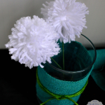 Spring Decorating Ideas: Burlap Wrapped Vases with Pom Pom Flowers
