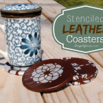 Stenciled Leather Coasters