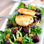 Beet and Wild Greens Salad with Fried Goat Cheese