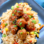 Sriracha Glazed Meatballs and Fried Rice