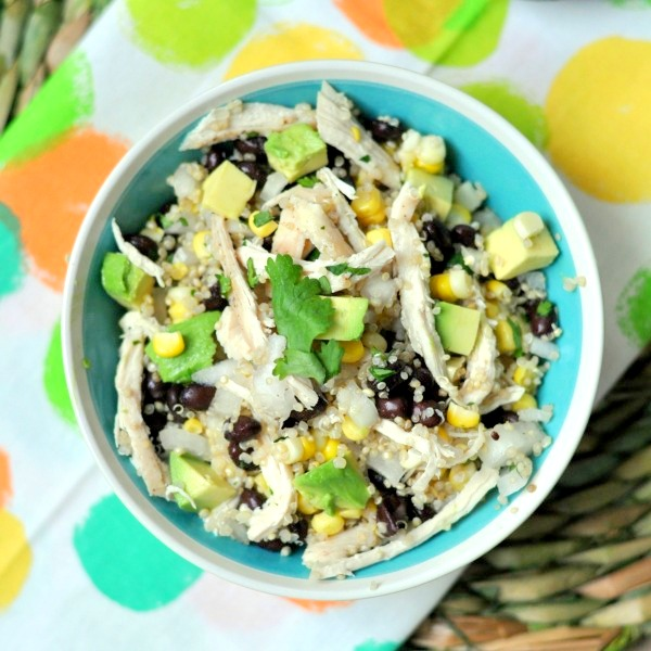 I can't wait to make this for our next picnic. Yummy chicken quinoa salad