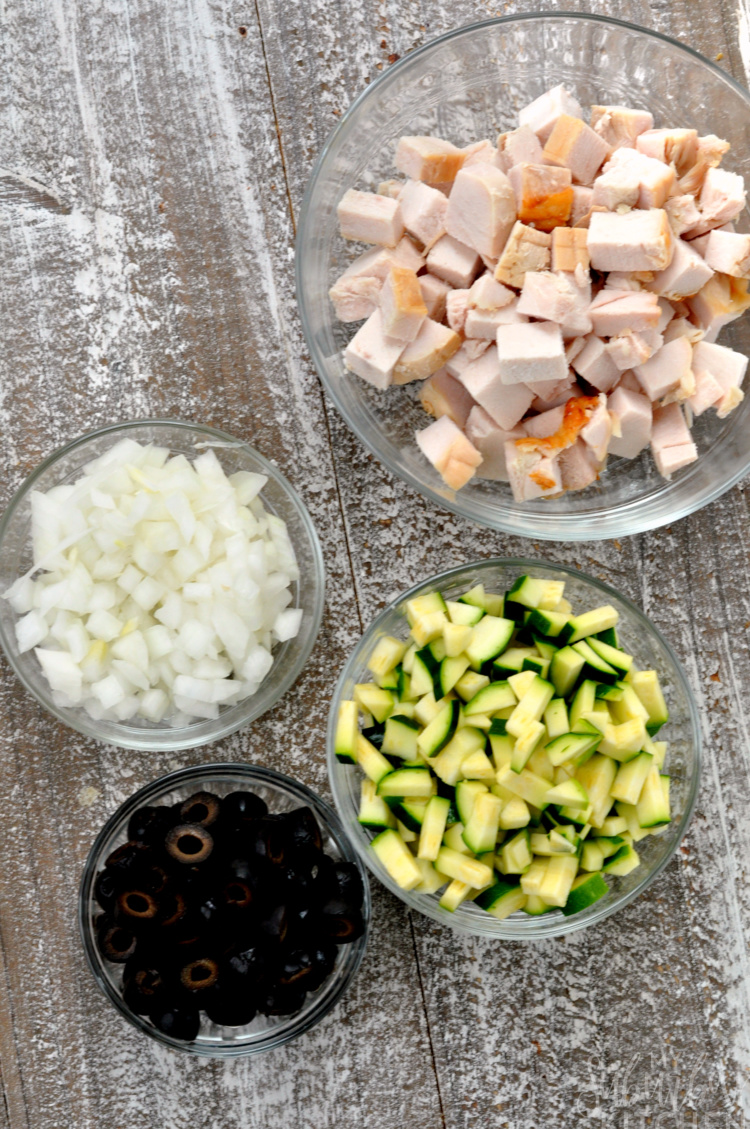 Overhead photo of ingredients for Mexican leftover turkey pie
