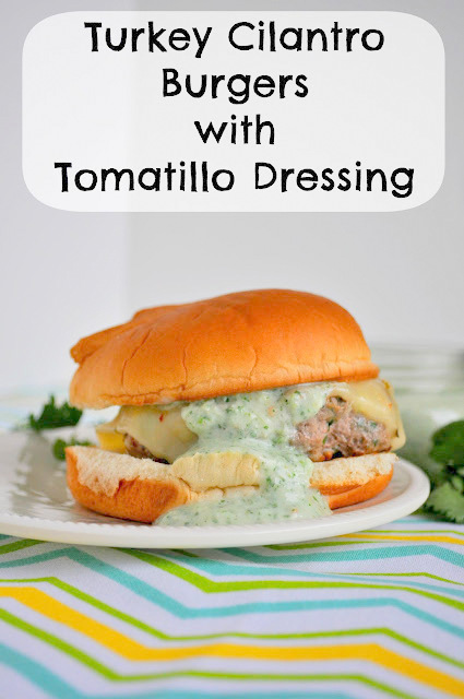 A delicious burger for Cinco de Mayo with yummy tomatillo dressing to complete it.