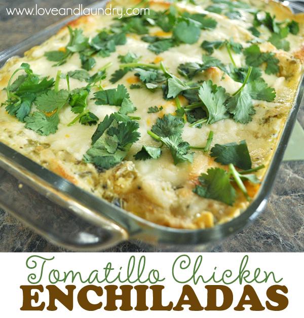 Guest Post} Tomatillo Chicken Enchiladas - Just Us Four