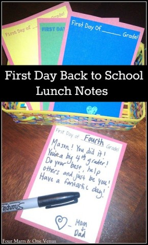 Four Marrs One Venus - Back to School Lunch Note