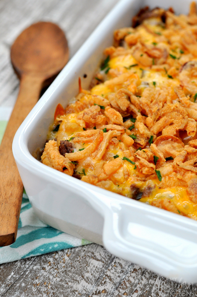 Photo of tater tot casserole in dish