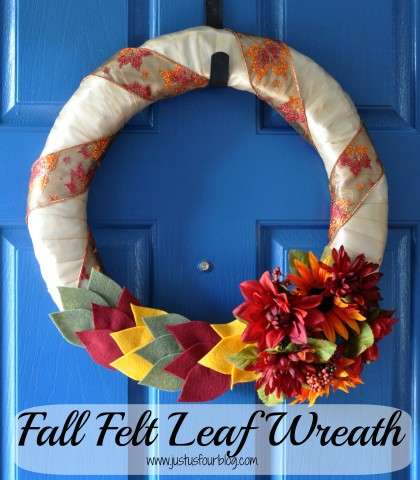 Fall felt leaf wreath with label