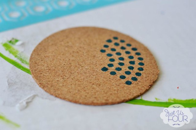Stenciled Cork Coasters 2