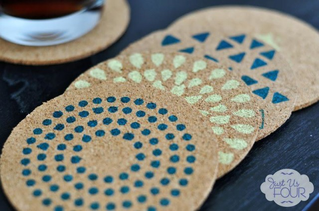 Easy Stenciled Cork Coasters