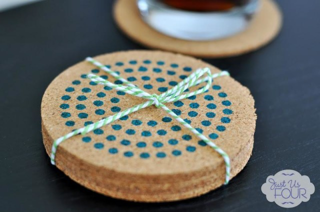 Easy and gorgeous stenciled cork coasters
