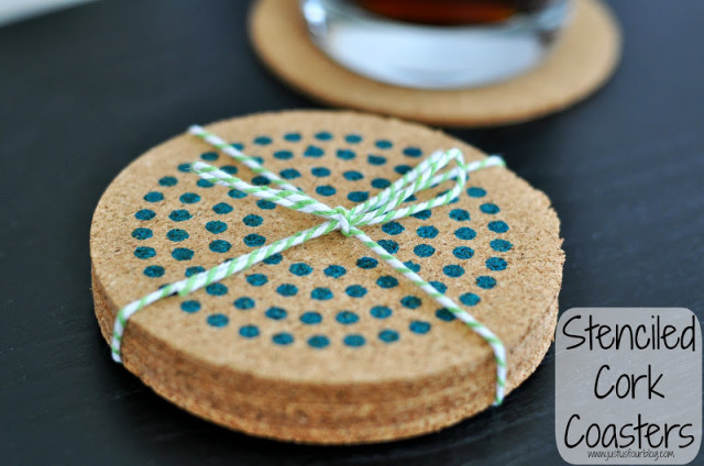 Stenciled Cork Coasters