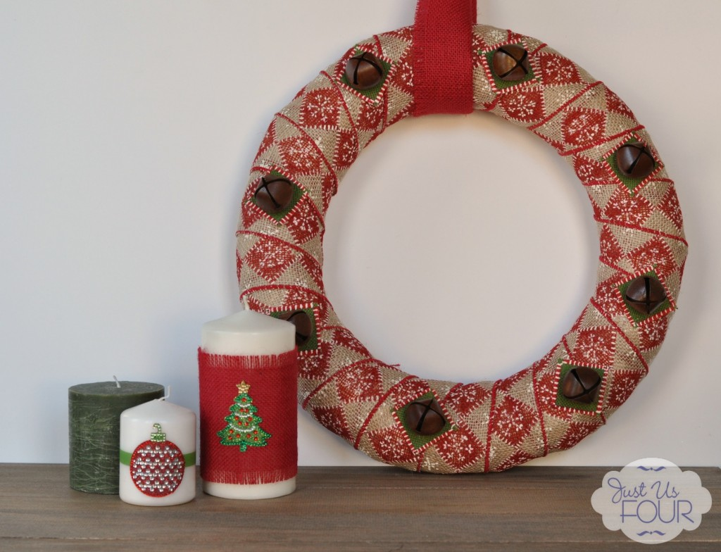 Burlap Bell Wreath with Candles_wm