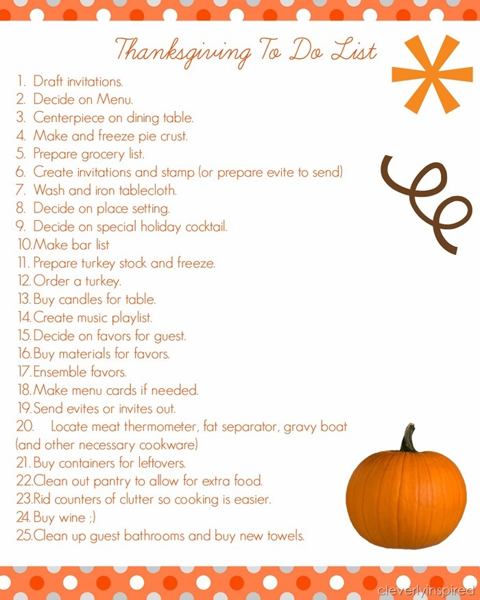 Cleverly Inspired - Thanksgiving To Do List