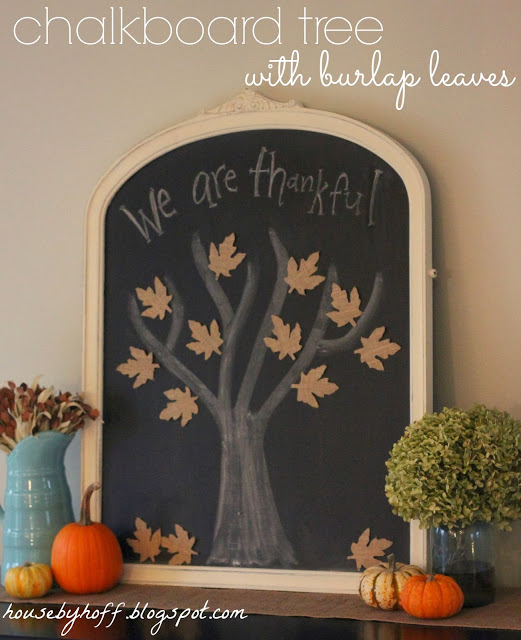 House by Hoff - Chalkboard Tree with Burlap Leaves
