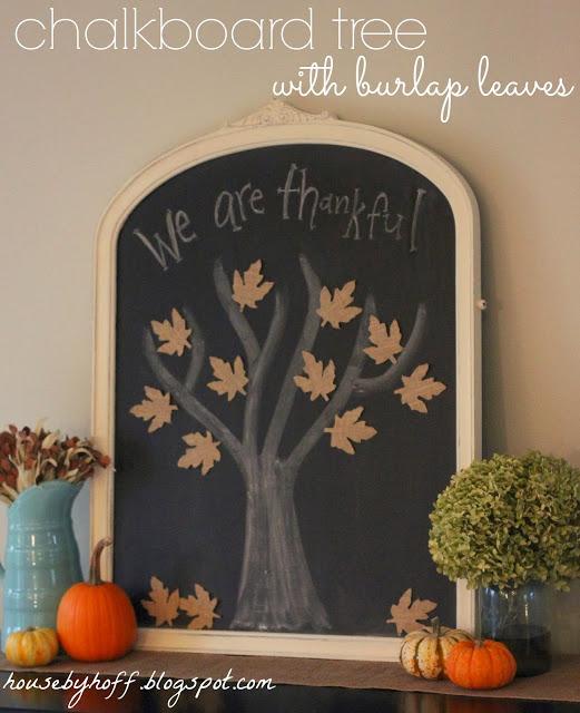 House by Hoff - Chalkboard Tree with Burlap Leaves