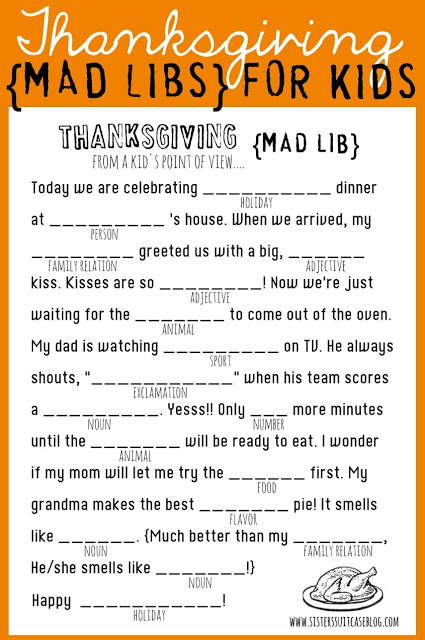 My Sisters Suitcase - Thanksgiving Mad Libs