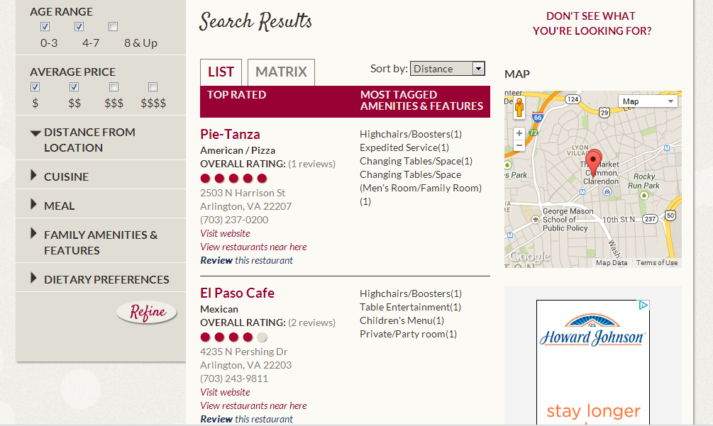 Teddy's Table Search Results