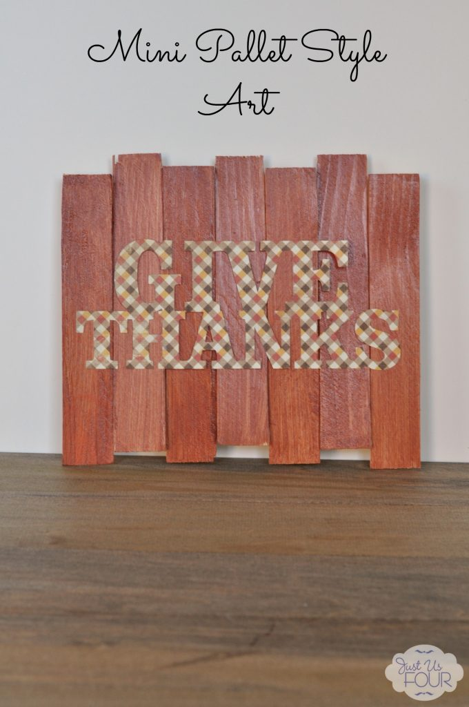 Thanksgiving pallet style art you can make in under 30 minutes using wood shims!
