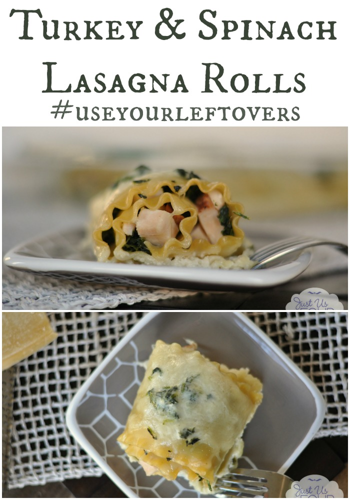 The perfect recipe for leftover turkey {or just because}! My family loves these turkey and spinach lasagna rolls.