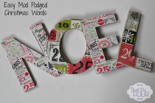 Easy Mod Podged Christmas Words #Christmascrafts