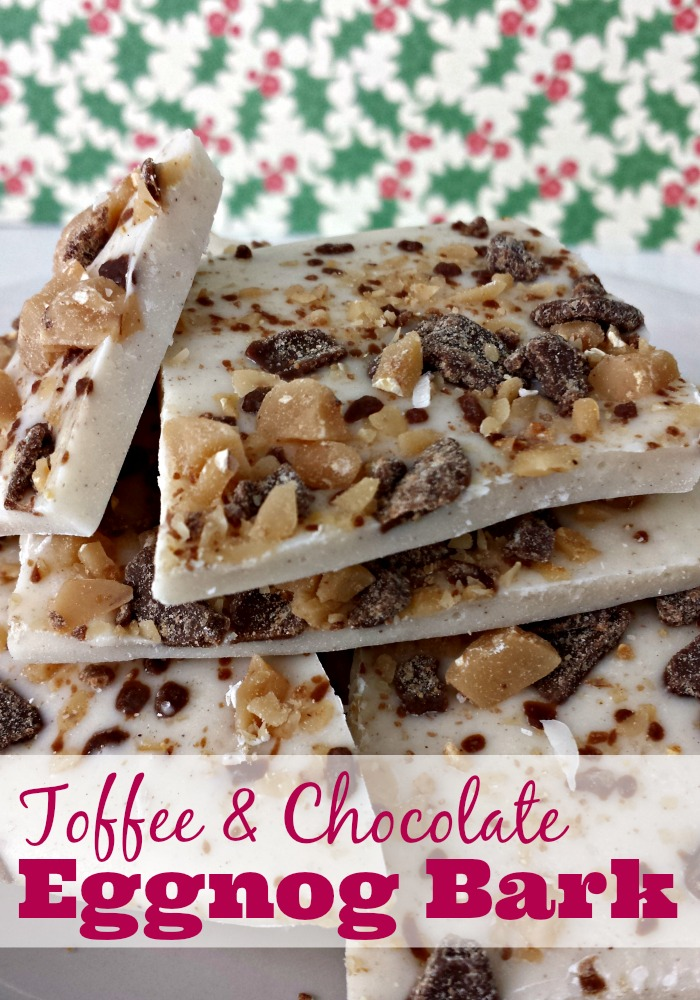Toffee and Chocolate Eggnog Bark #desserts #Christmascandy #recipes