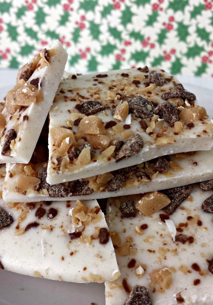 Toffee and Chocolate Eggnog Bark