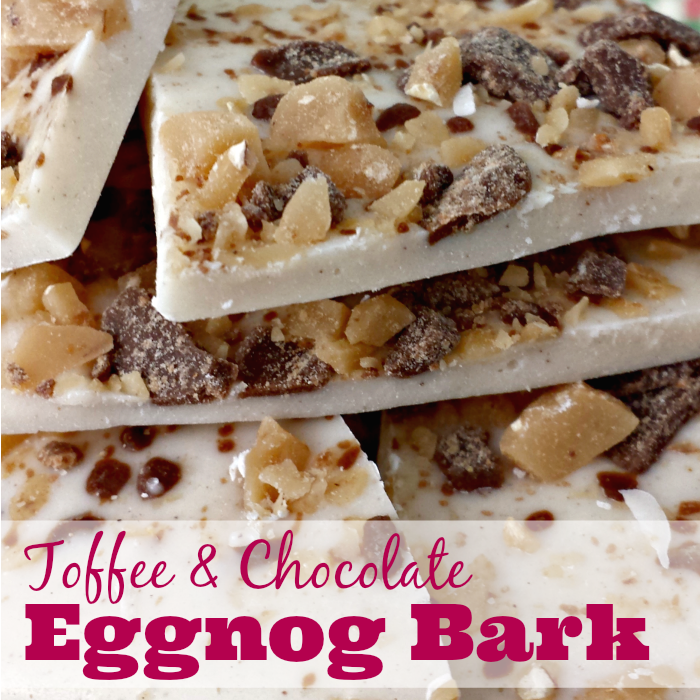 Toffee and Chocolate Eggnog Bark