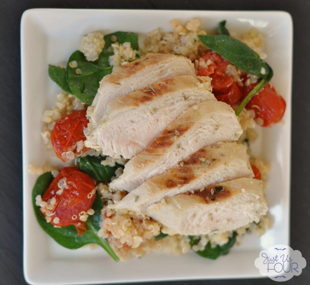 ... over salad mixture. Add to plates and top with sliced, cooked chicken