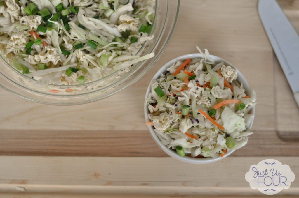 Oh my gosh...this Asian Slaw Salad looks amazing! The recipe is so easy too. #recipe #salad #picnicfood
