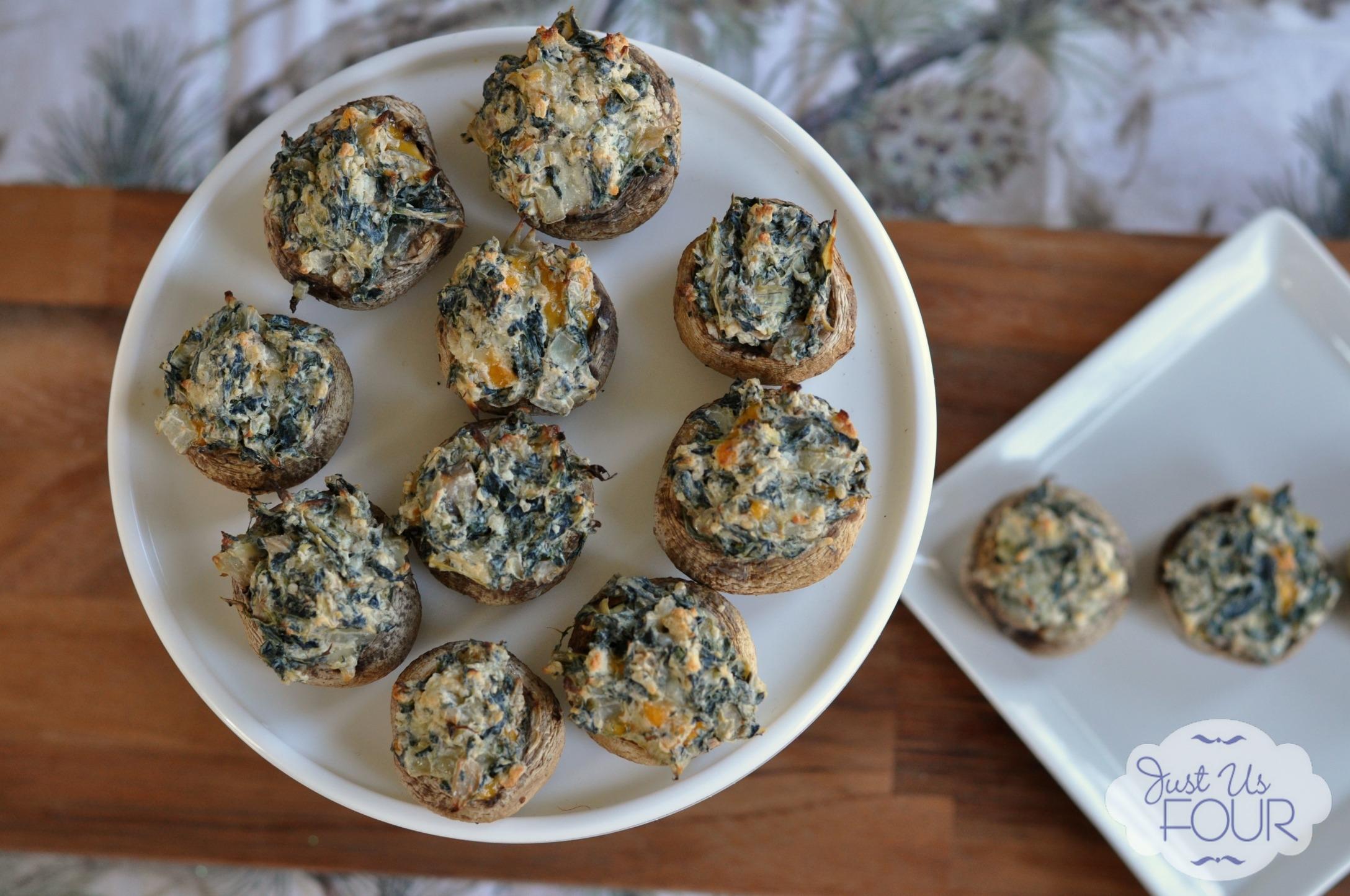 Spicy Spinach Artichoke Stuffed Mushrooms - My Suburban Kitchen