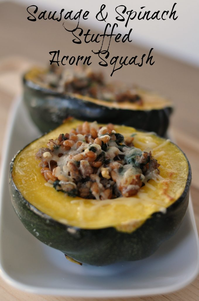 Stuffed squash with label