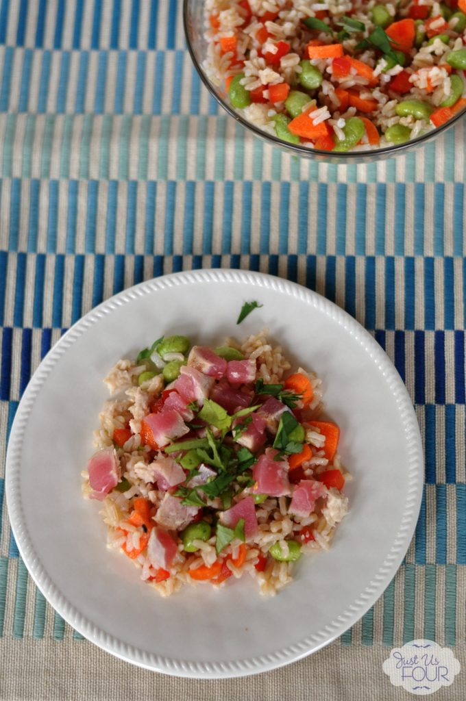 Brown Rice Salad with Seared Tuna | Just Us Four #recipes #salad #tuna
