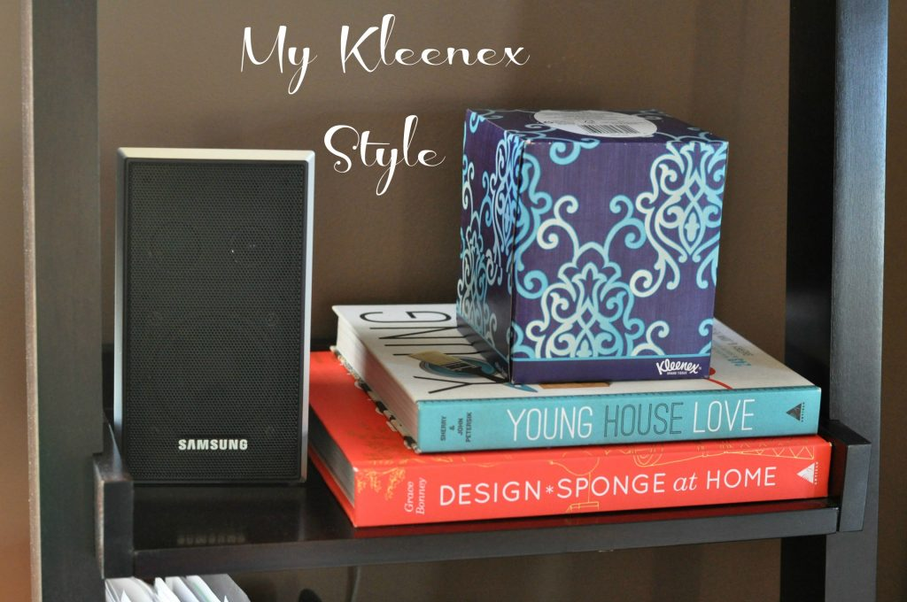 Kleenex on Bookcase with label