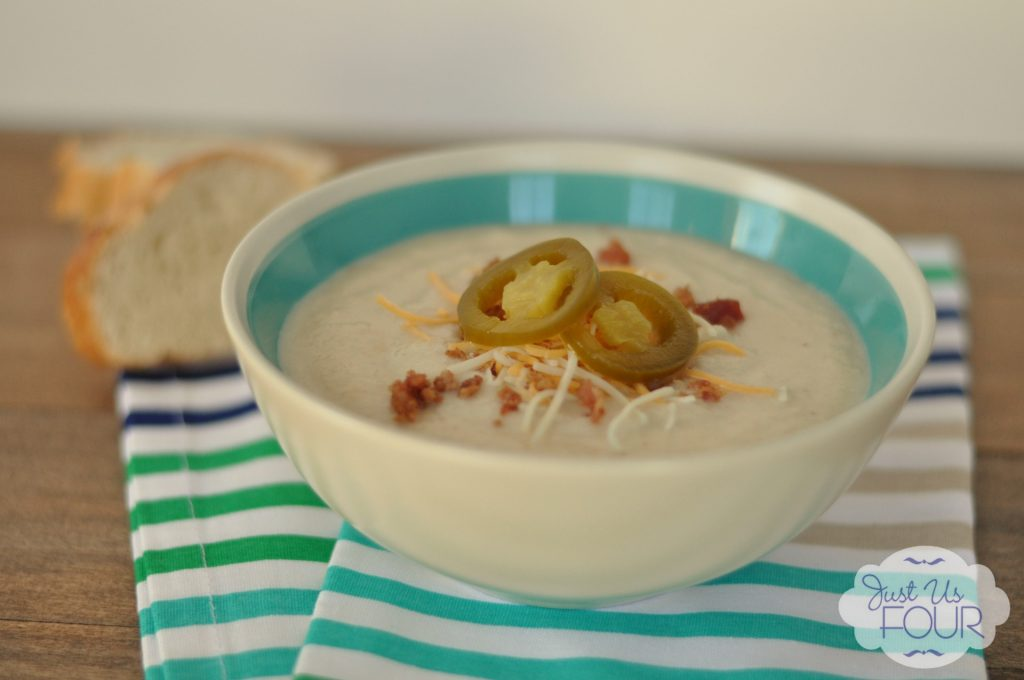 Gluten Free Loaded Cauliflower Soup | Just Us Four #recipes #soup #glutenfree