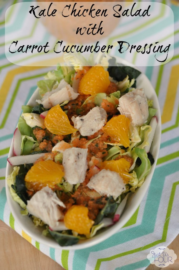 #ad Gluten Free Kale Chicken Salad with Carrot Cucumber Dressing #CookItGF #recipes #cbias