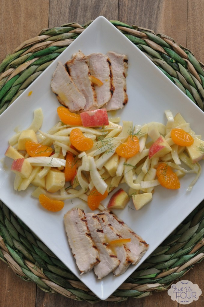 Citrus Pork Chops with Apple, Orange and Fennel Salad #creativebias #recipe #spon