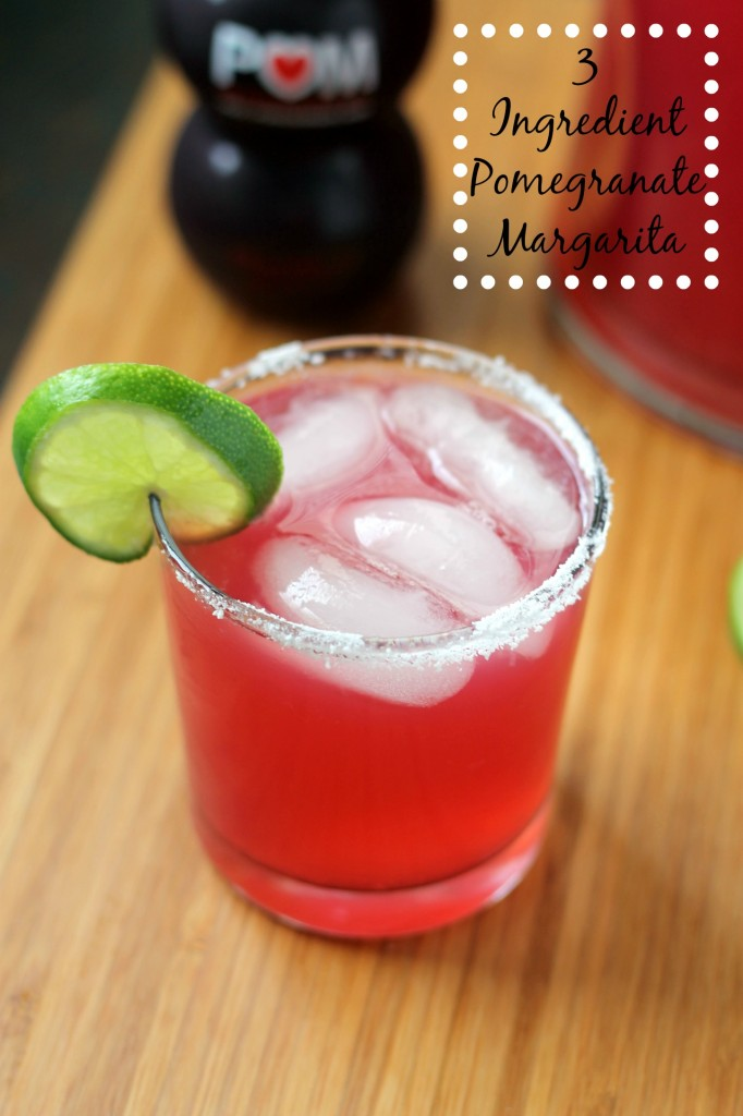 Three Ingredient Pomegranate Margarita Recipe - This is the ultimate summer drink and is so easy to make! #cocktails #drinkrecipes