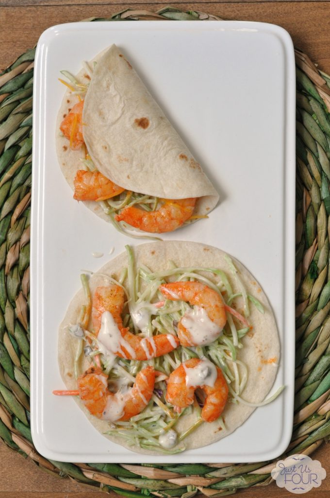 Great idea to use buffalo flavors on shrimp for tacos. So easy and super delicious.