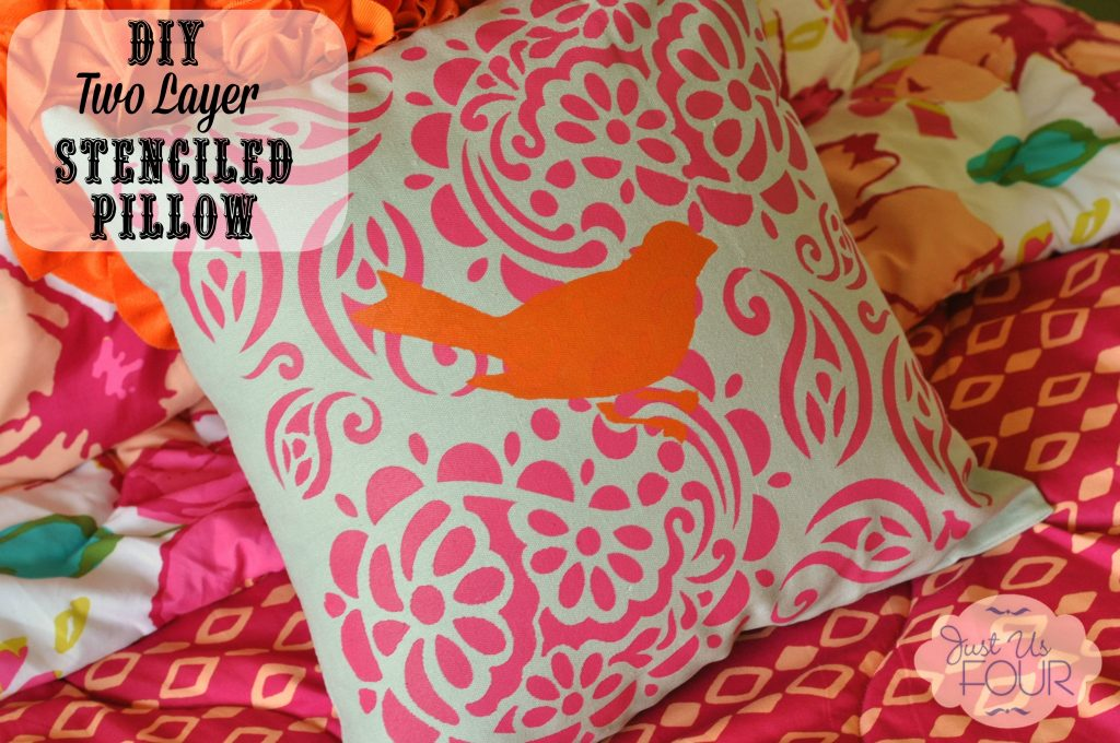Super easy layered DIY stenciled pillow! #tulipforyourhome #ad