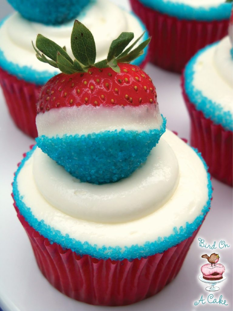 Red, White and Blue Strawberry Cupcakes from Bird on a Cake