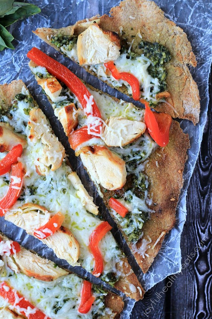 Recipes for the Grill - 15 - Joyful Healthy Eats - Grilled Chicken Pesto Pizza