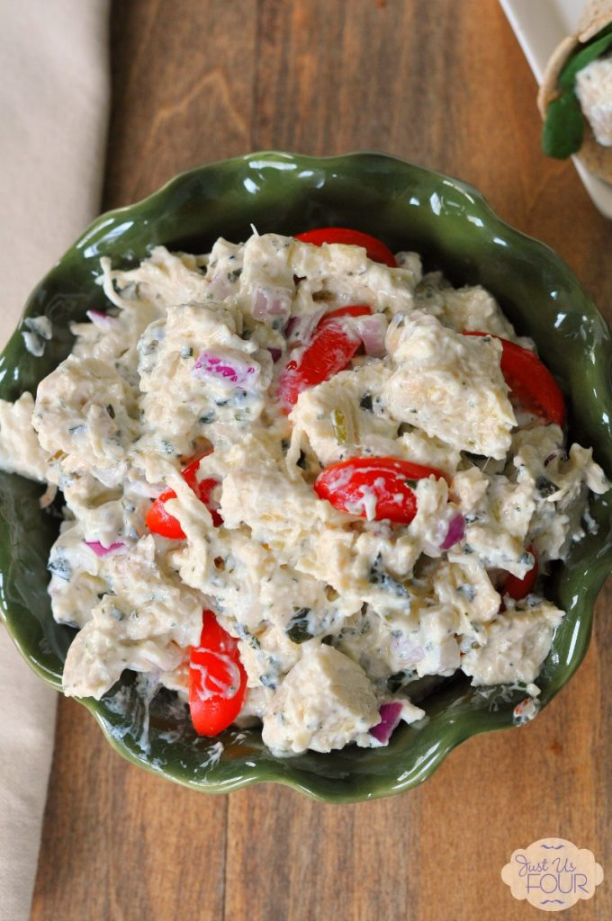 Easy and delicious lunch idea: pesto chicken salad made extra creamy with a blend of yogurts