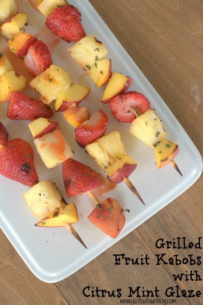 Amazingly delicious grilled fruit kabobs are perfect for summer.  They are marinated in a citrus mint syrup for an extra tasty flavor.