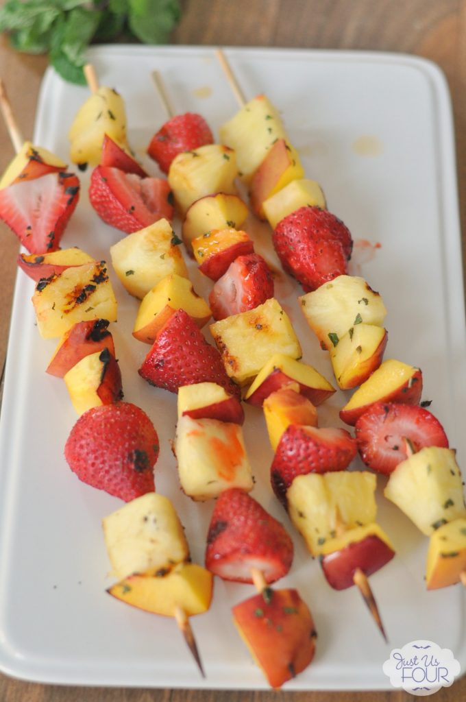 Grilled fruit kabobs with citrus mint glaze