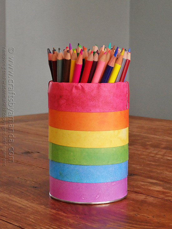 02 - Crafts by Amanda - Rainbow Striped Pencil Can