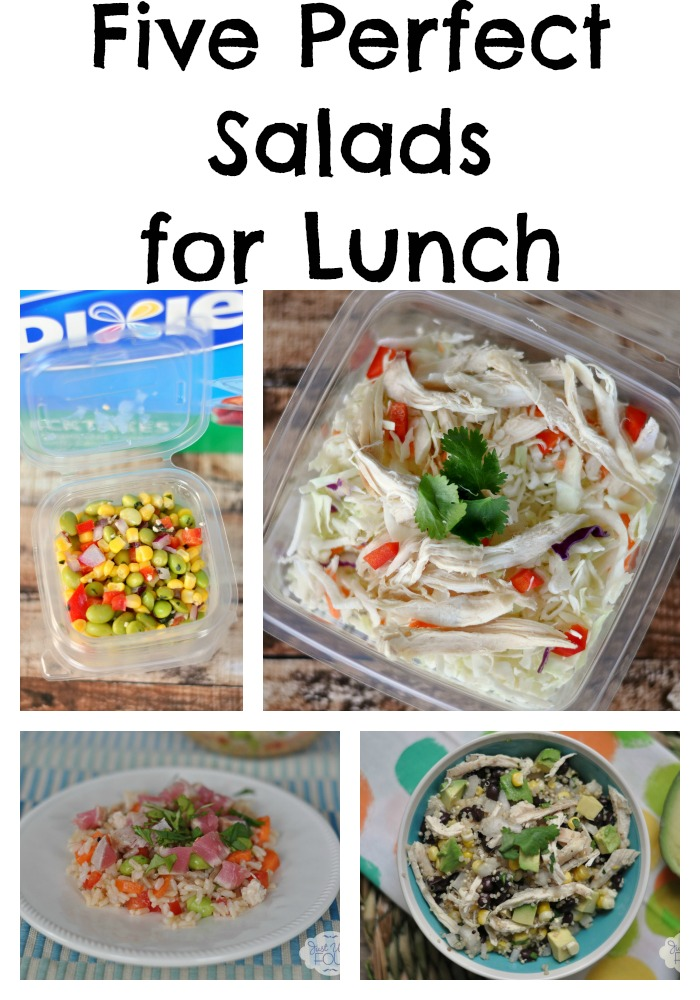 These are five awesome ideas for lunch salads plus a great way to transport them.
