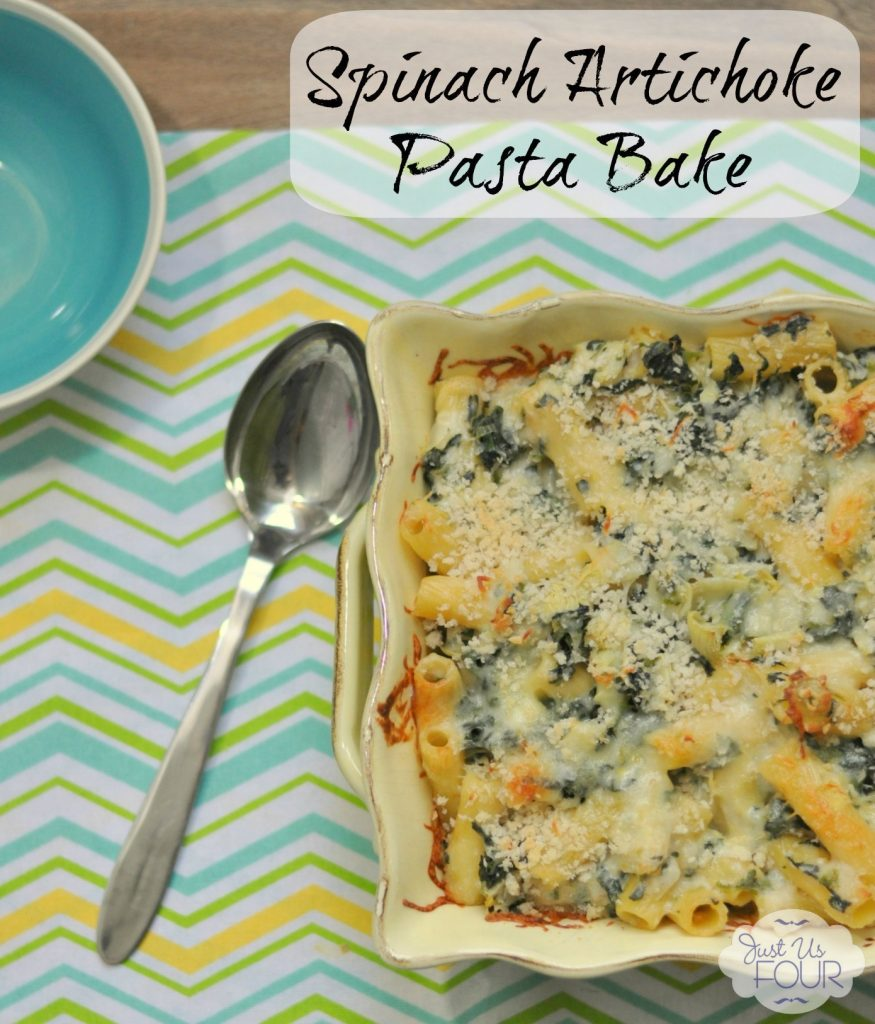 A perfect weeknight meal! Love the flavors of spinach and artichoke dip in this pasta bake.