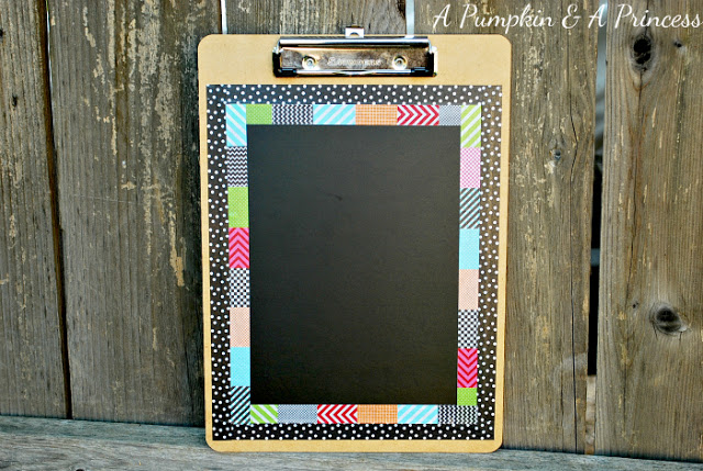 06 - A Pumpkin and a Princess - Washi Tape Chalkboard Clipboard